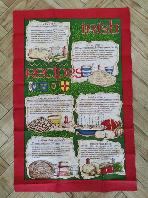 Irish Recipes Tea Towel